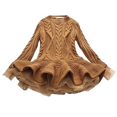 3d9821072dc0 De feuilles Robe en Tricot Bébé Fille Pull Laine Crochet Tutu Robe Manches  Longues Col Rond