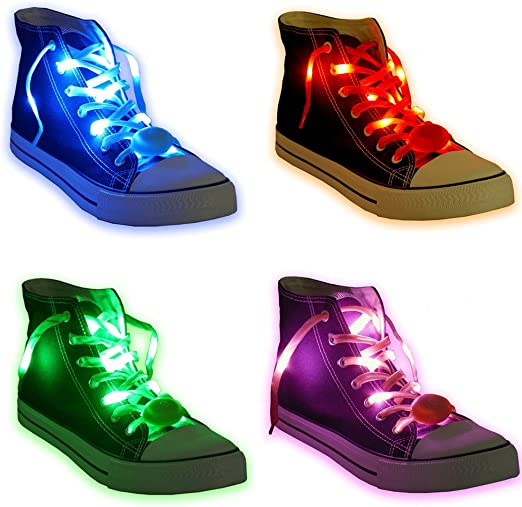 1 x Pair LED Flashing Light Up Shoelaces Glow in the Dark Colour WHITE