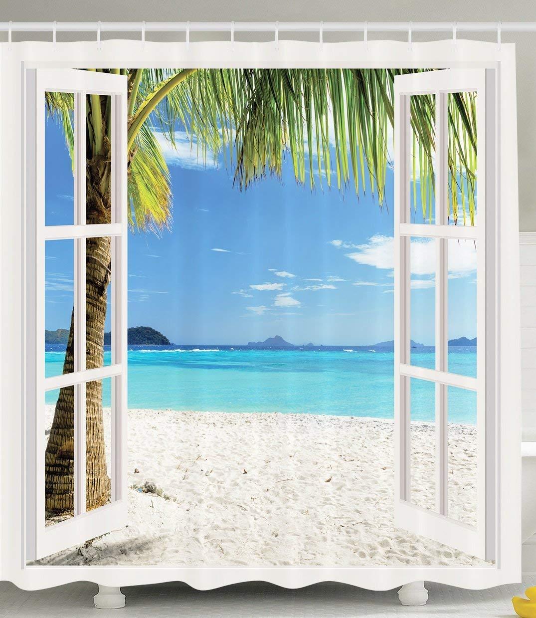 HUGS IDEA Ocean Sea Shower Curtain Bathroom Decor, Tropical Palm Trees on an Island Beach Through White Wooden Windows, Polyester Waterproof Fabric with Hooks, Blue Green White