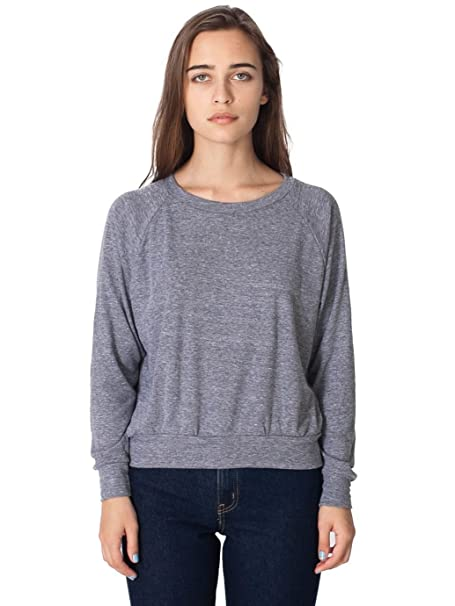 American Apparel Tri-Blend Light Weight Raglan Pullover - Athletic Grey -  Large 063a5ba78