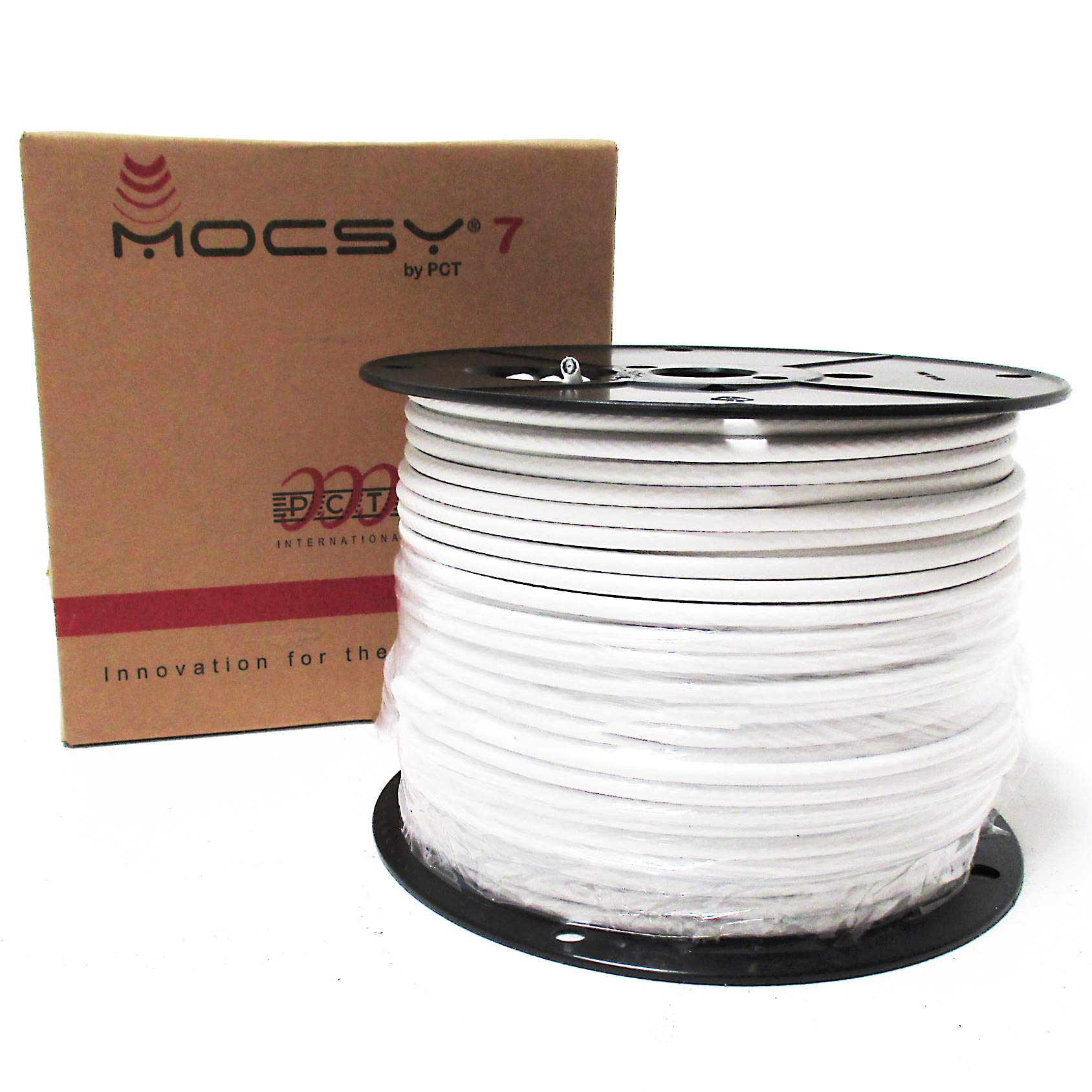 500ft INDOOR OUTDOOR WHITE RG6 COAXIAL CABLE UV COATED PVC JACKET 18AWG SHIELDED PROFESSIONAL GRADE FOR HDTV DIGITAL CABLE HI-DEF SATELLITE COAX BULK PAYOUT REEL IN BOX by PCT International