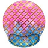 AORTDES Mermaid 9 X 10 Inches Optical Non-Slip Ergonomic Mouse Pad With Wrist Rest, Laser Memory Foam Pain Relief Mouse Pad M