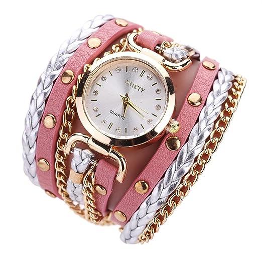 Relojes Pulsera Mujer, K-youth® Pequeño giro Rivet Cuero de la PU Tabla