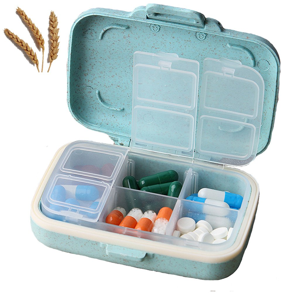 Macaron Pill cases Natural Grain Fibre Travel Pill Box Portable Environmental Pill Cases with Label