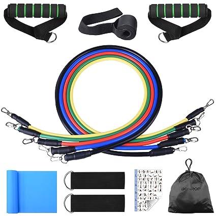 Bandas de Resistencia, Bandas Elásticas Fitness Professional Gym Tube Bandas de Goma para Ejercicios 5 Colores BC007