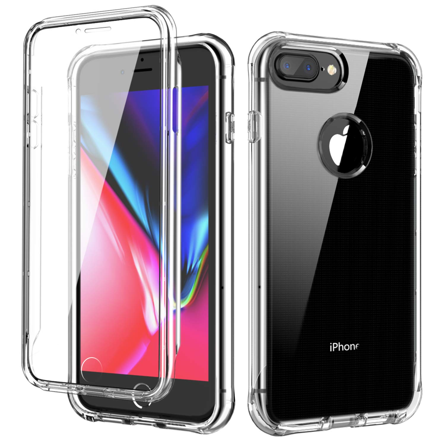 SKYLMW iPhone 6 Plus Case,iPhone 6S Plus Case,iPhone 7 Plus/8 Plus Case,[Built in Screen Protector] Full Body Shockproof Dual Layer Protective Hard Plastic & Soft TPU Phone Cover,Clear by SKYLMW