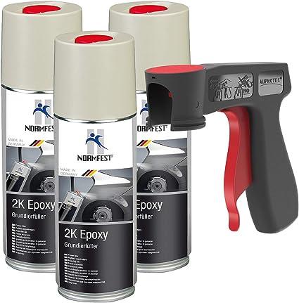 Auprotec 2k Grundierfüller Epoxy Lack Füller Grundierung Spray Matt Beige 3x 400ml 1x Original Pistolengriff Auto