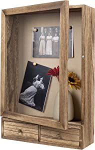BONKON Shadow Box Frame 11x14 Shadow Box Display Case with Soft Linen Back 2 Drawers Ready to Hang Shadow Boxes for Collages, Collections, Mementos Deep Shadow Box Picture Frame