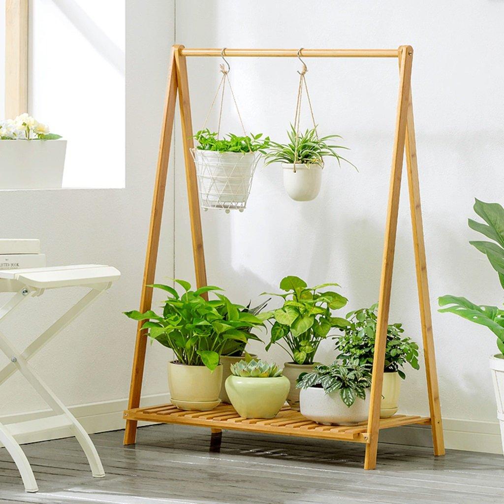 Flower Stand Bamboo Balcony Indoor Multilayer Pieghevole da Terra Semplice Fiore Stand (Dimensioni   70cm38cm90cm)