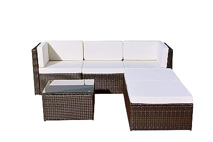 Abreo Rattan Modular Corner Sofa Set Garden Conservatory Furniture 5 ...