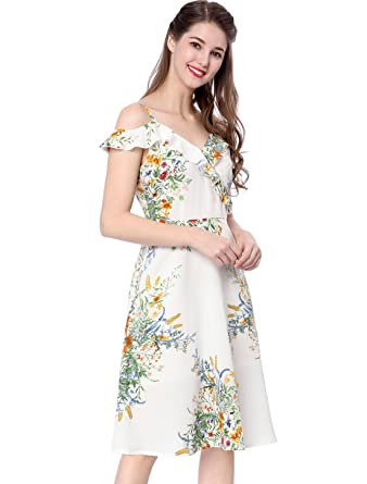 8db73334b129 Allegra K Women s Floral Print Spaghetti Strap Cold Shoulder Midi Dress M  White