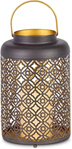 Orchid & Ivy 9.75-Inch Rustic Brown and Gold Metal Decorative Lantern with LED Candle and Timer – Hanging or Tabletop Indoor Home Decor