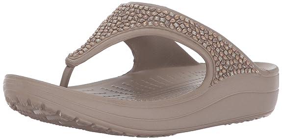 Crocs Sloane Embellished Women Flip in Brown Flip-Flops & House Slippers at amazon