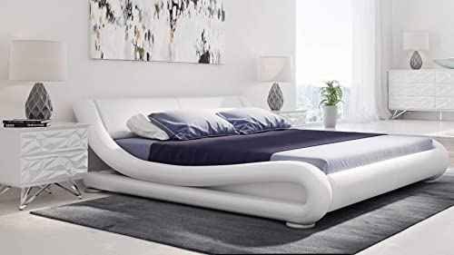 Zuri Furniture Modern Marlo White Genuine Leather King Size Platform Bed