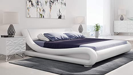 Amazon.com: Zuri Furniture Modern Marlo White Genuine ...