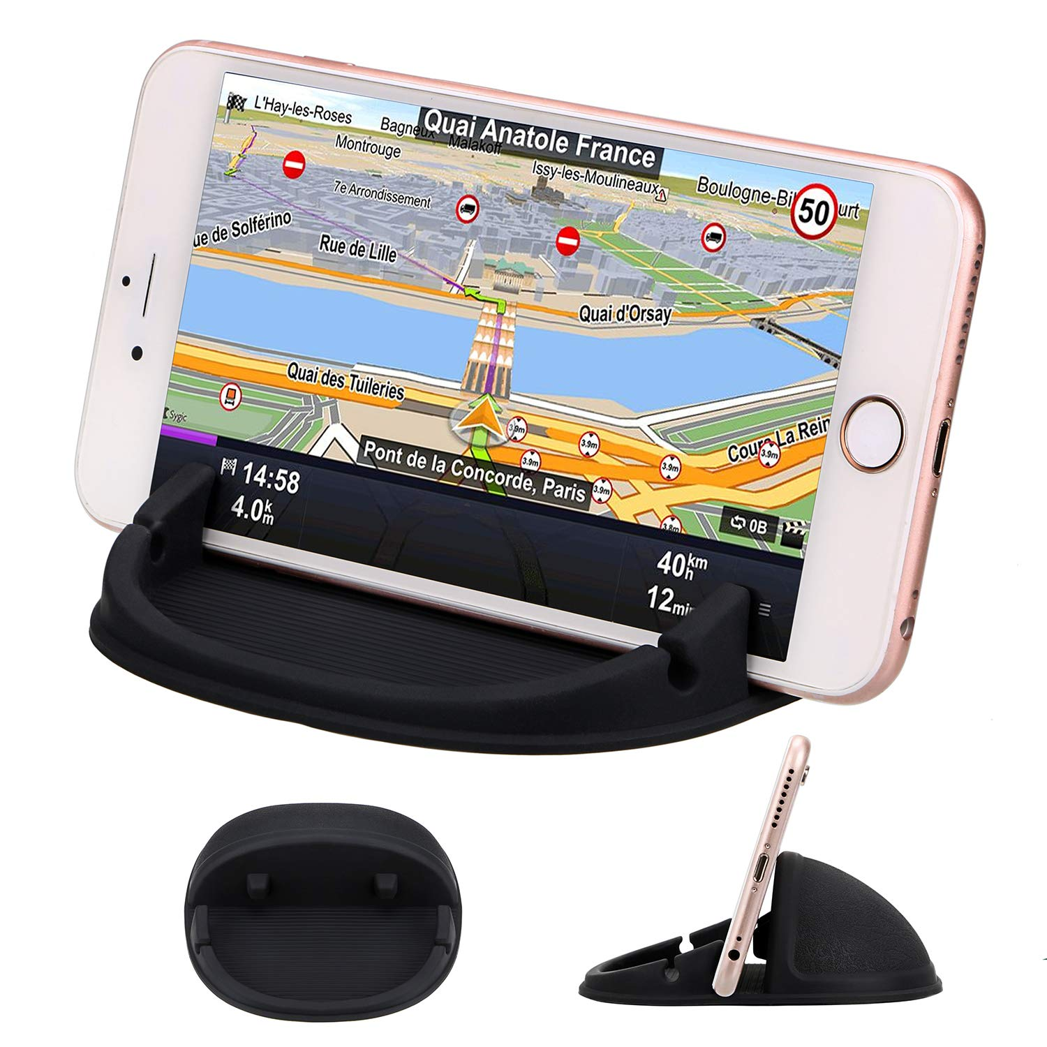 TOBOS Car Phone Mount Silicone Car Pad Mat for Various Dashboards, Anti-Slip Desk Phone Stand Compatible with iPhone, Samsung, Android Smartphones Car ,Phone Holder(Yellow)