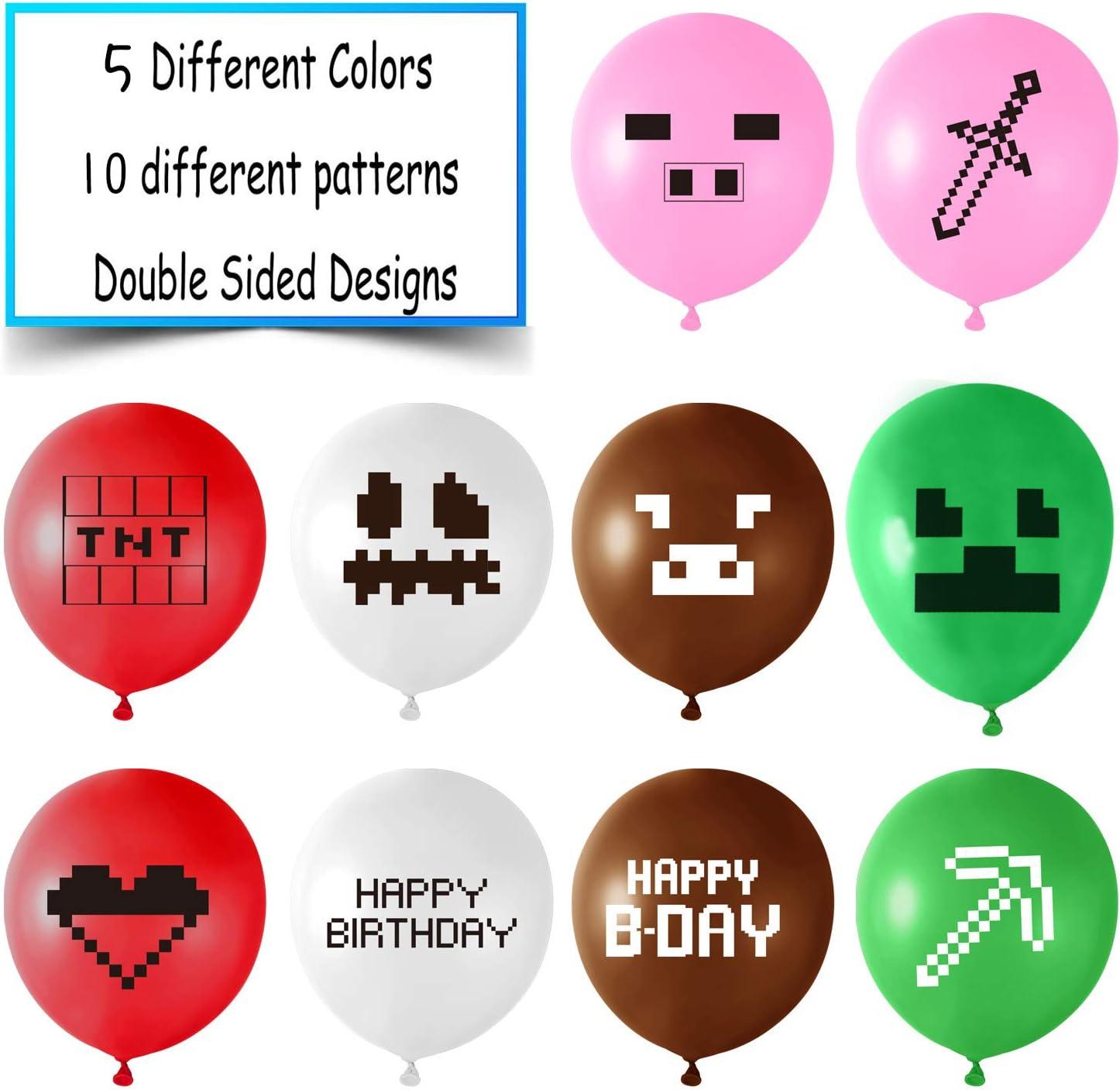 FEPITO 30Pcs Ballons de f/ête pour mineurs 12 Ballons en Latex pour Les Cadeaux de f/ête danniversaire de Joueur 10 mod/èles diff/érents