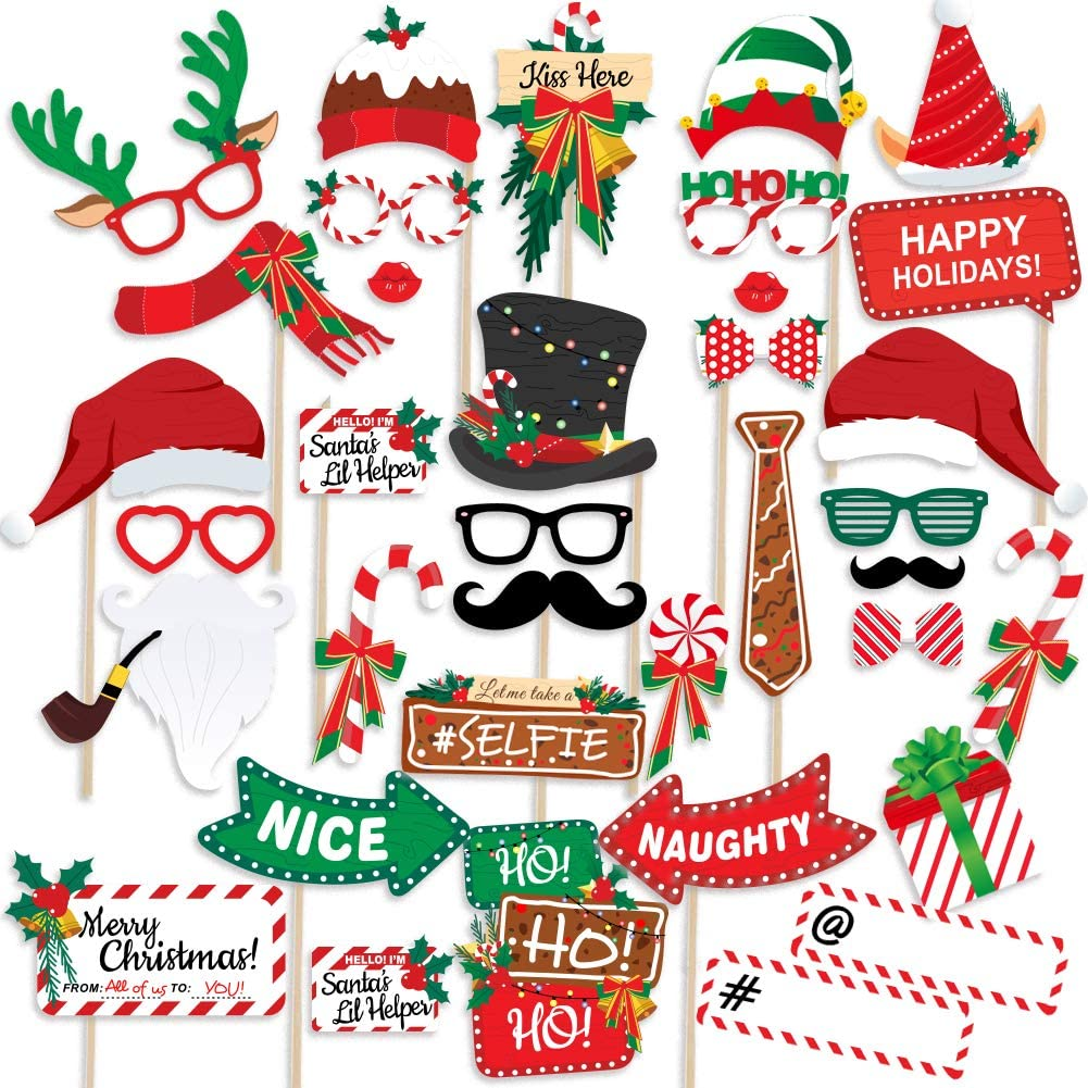 38 Pack DIY Xmas Photography Decorations Funny Selfie and Photo Prop Pack for Christmas and New Year Party Winter Holidays Supplies for Kids and Adults 2019 Christmas Photo Booth Props