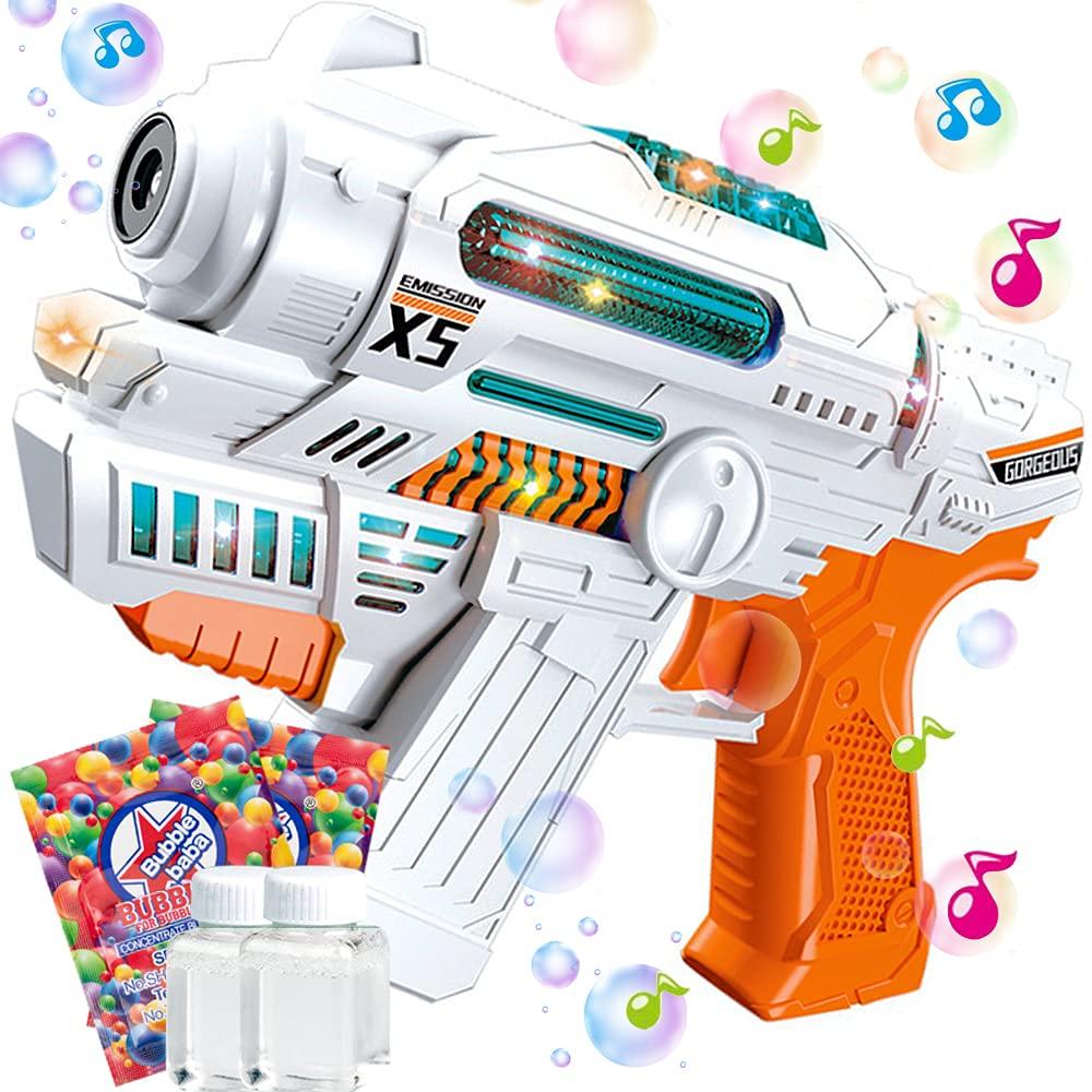 HEEKU Bubble Guns for Kids with Bubble Machine Music and Light Bubble