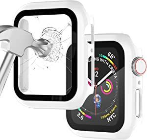 Apple Watch Case for Apple Watch 38MM Series 3/2/1/ with Built-in Tempered Glass Screen Protector, All-Around Ultra-Thin Bumper Full Cover Hard PC Protective Case for iWatch