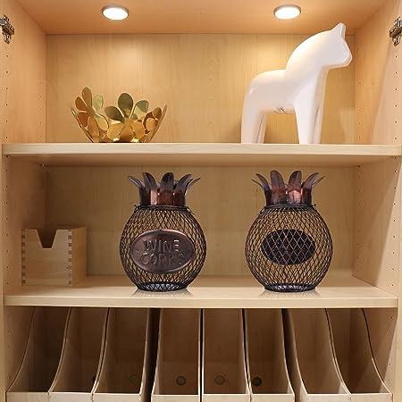 TOOARTS - Contenedor de Corchos de Vino - Piña - Utensilios para Tapones de Botellas del Estilo Metálico para Casa Salón Barra Bar (Artesanía de Hierro)