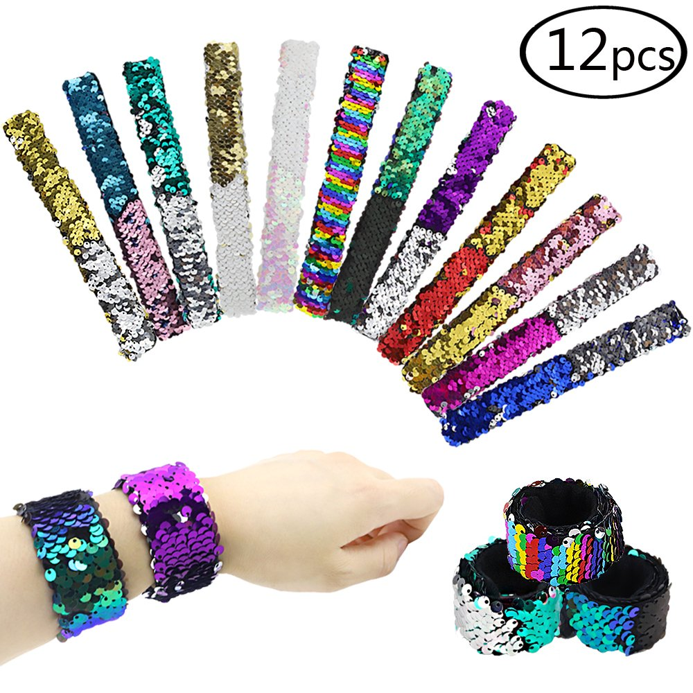 HEHALI Sequin Mermaid Bracelet for Birthday Party Favors, 2 Color Slap Bracelet, Pack of 12 (12)
