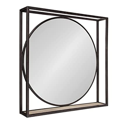 Kate And Laurel Mccauley Decorative Rustic Modern Round Vanity Mirror With Square Metal Frame And Wood Shelf Bronze