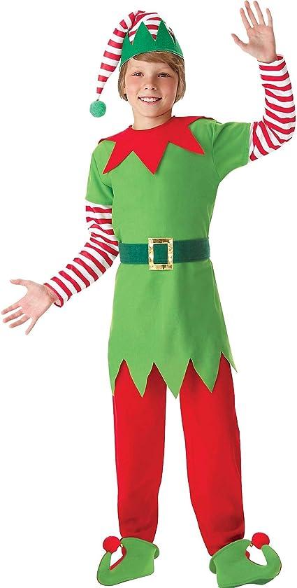 KIDS ELF CHRISTMAS COSTUME TUNIC HAT SANTAS HELPER XMAS GIRLS BOYS FANCY DRESS