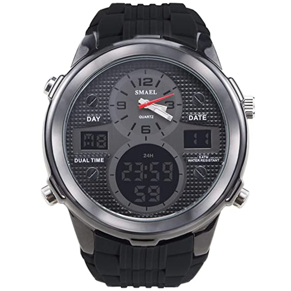 Beydodo Relojes Electronicos Reloj Multifunción Reloj Deportivo Hombre Reloj Impermeable Reloj de Doble Pantalla Reloj Hombre Negro: Amazon.es: Relojes