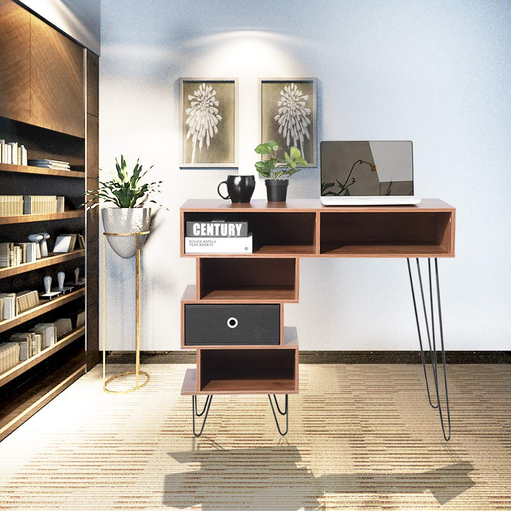 Aingoo Writing Desk, Modern Computer Desk with Bookshelf Efficient Space Storage Workstation by Lingoes (Image #3)