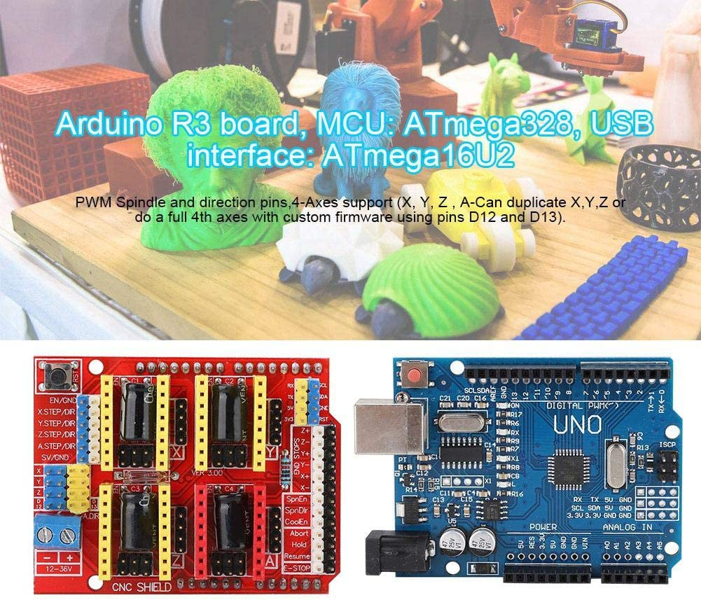 ASHATA CNC Shield V3 Engraving Machine Expansion Board Kit Stepstick,CNC Shielding Plate,+DRV8825 Stepper Motor Driver,with USB Cable for Arduino.
