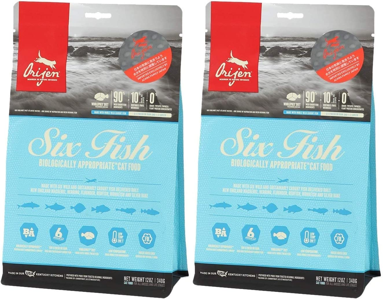 Orijen 2 Pack of 6 Fish Biologically Appropriate Food for Cats, 12 Ounces Per Pack