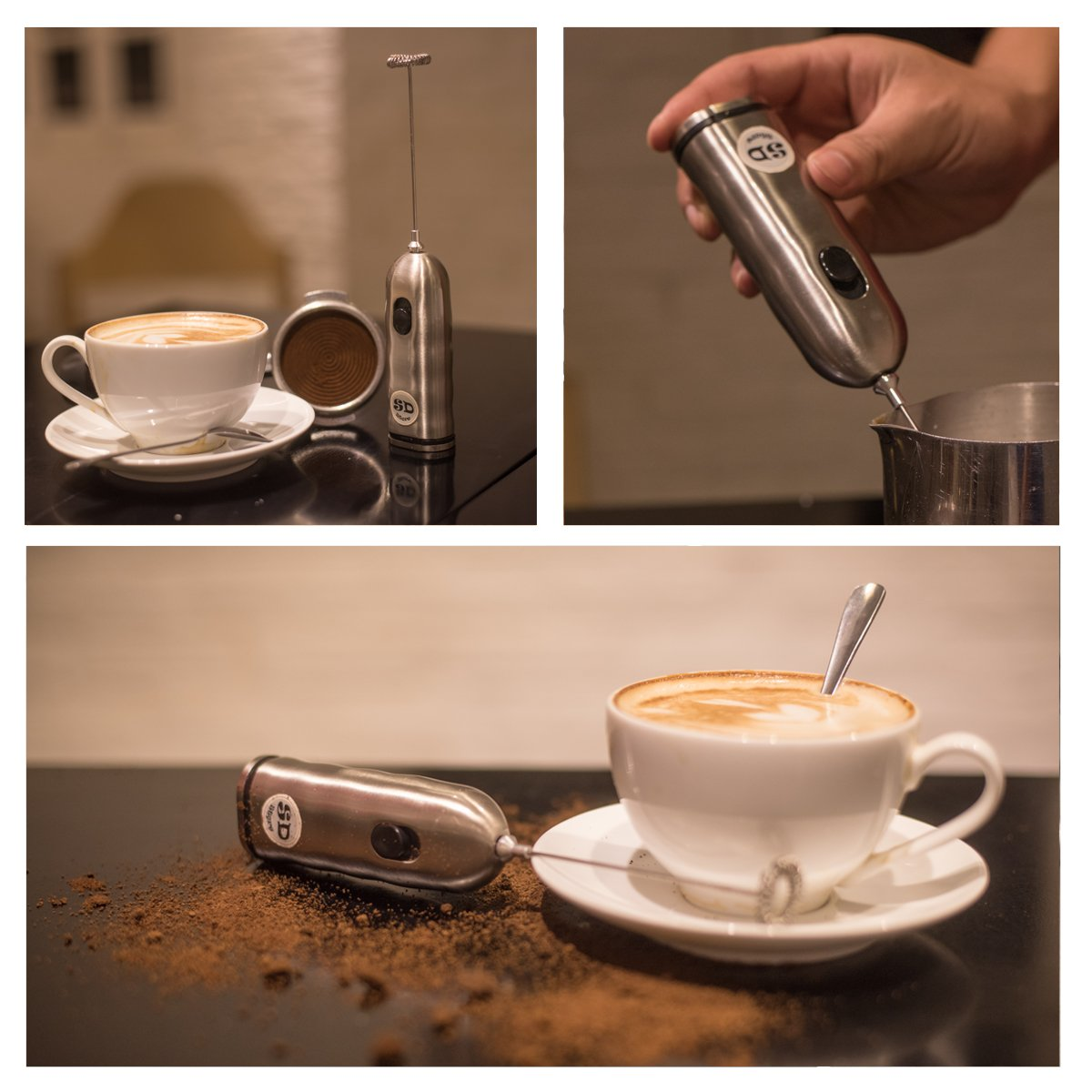 HBT Milk Frother Mixer Handheld Espresso Stirrers - Frothing Wand Battery Operated Electric Foam Maker for Coffee|Latte|Cappuccino|Hot Chocolate - Home Gifts Stainless Steel with Free Spoon|Ebook by HBT (Image #3)