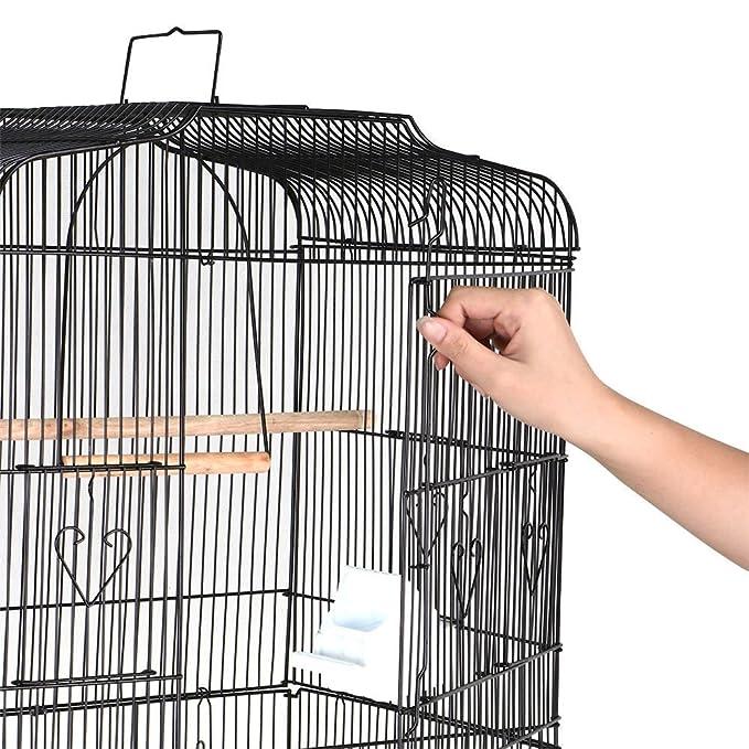 Large Tall Cockatiel Periquito servilletas de Canarias jaula jaula de pájaros con soporte negro nuevo: Amazon.es: Deportes y aire libre