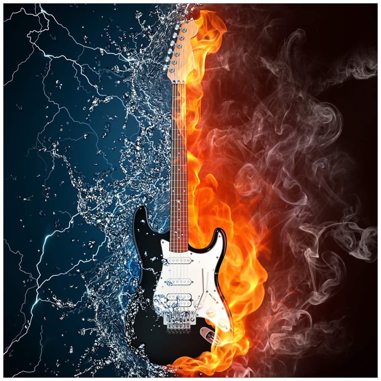 Cuadro de fuego-agua-guitarra eléctrica - 50 x 50 cm en Premium ...