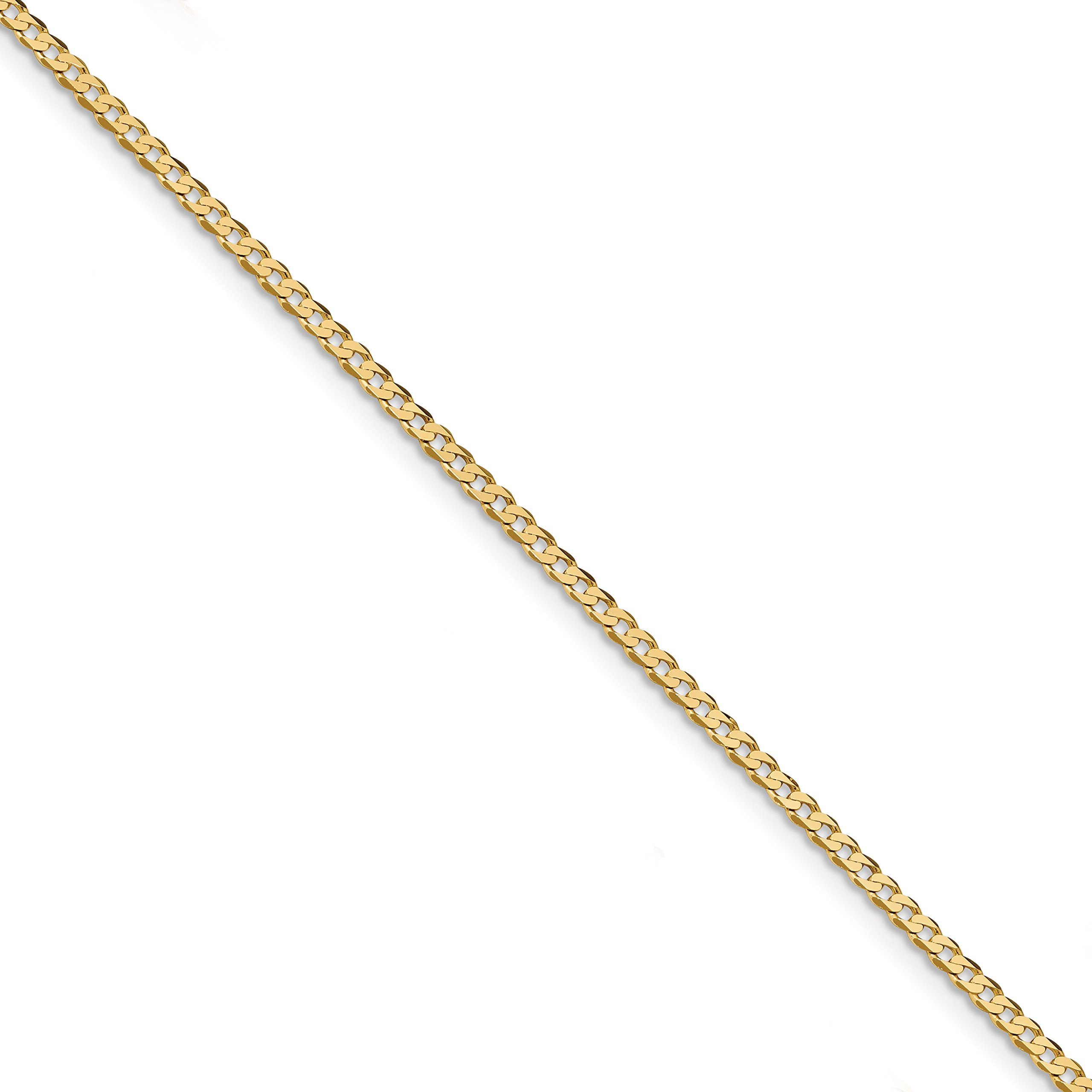 ICE CARATS 14k Yellow Gold 2.2mm Beveled Link Curb Chain Anklet Ankle Beach Bracelet 10 Inch Fine Jewelry Gift Set For Women Heart