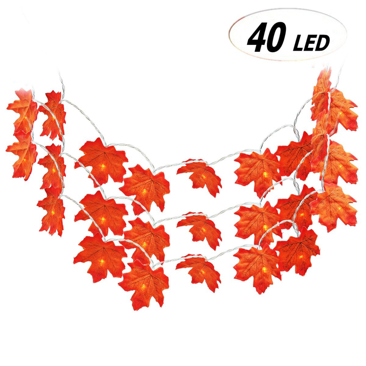 Fall Maple Leaf Decorations Light, Keepack Autumn Garland 4M 40 Lights Battery Powered Fall Garland Maple Leaf Lights
