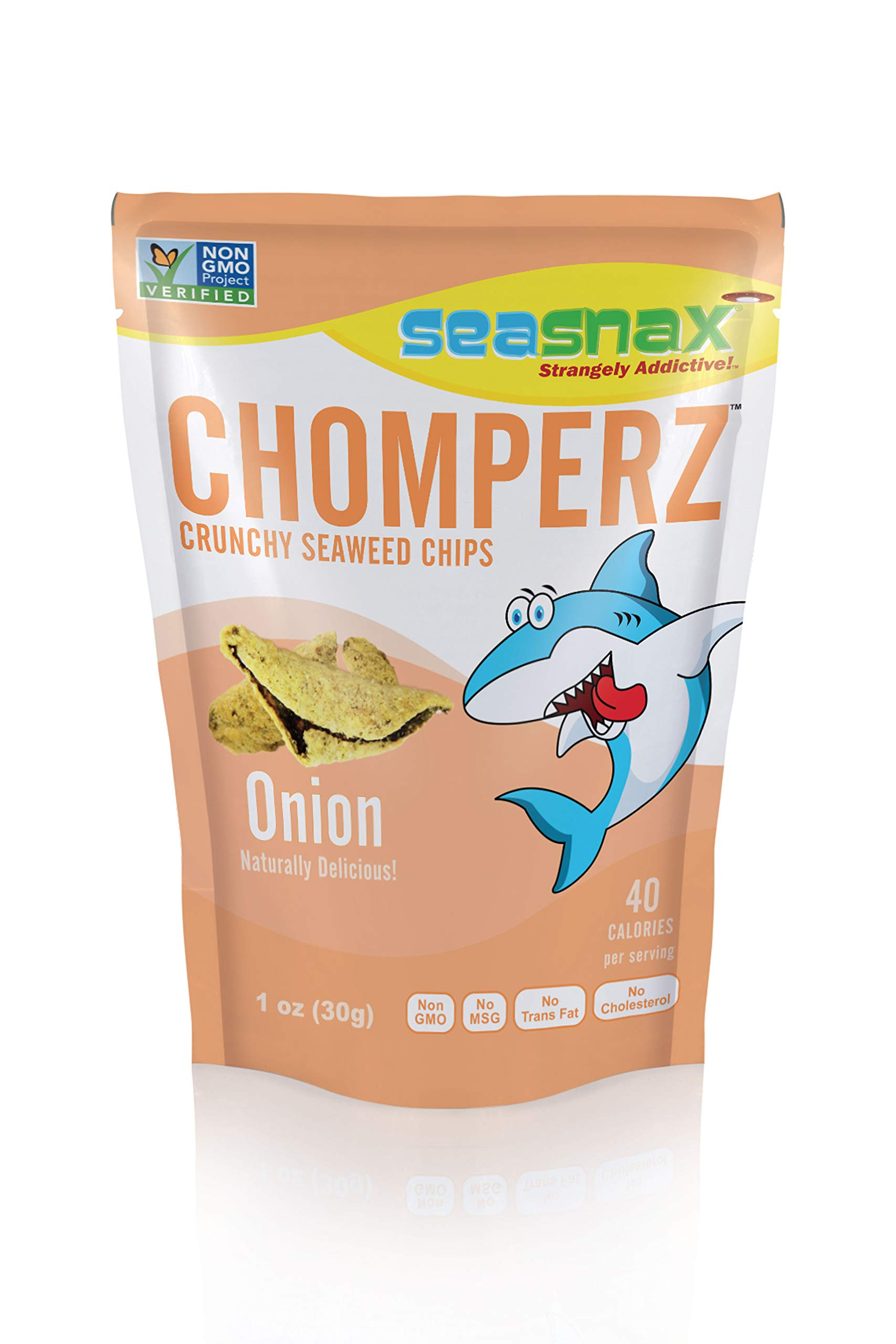 SeaSnax Chomperz Crunchy Seaweed Snacks, Onion 1 Ounce Bag, 8 Count