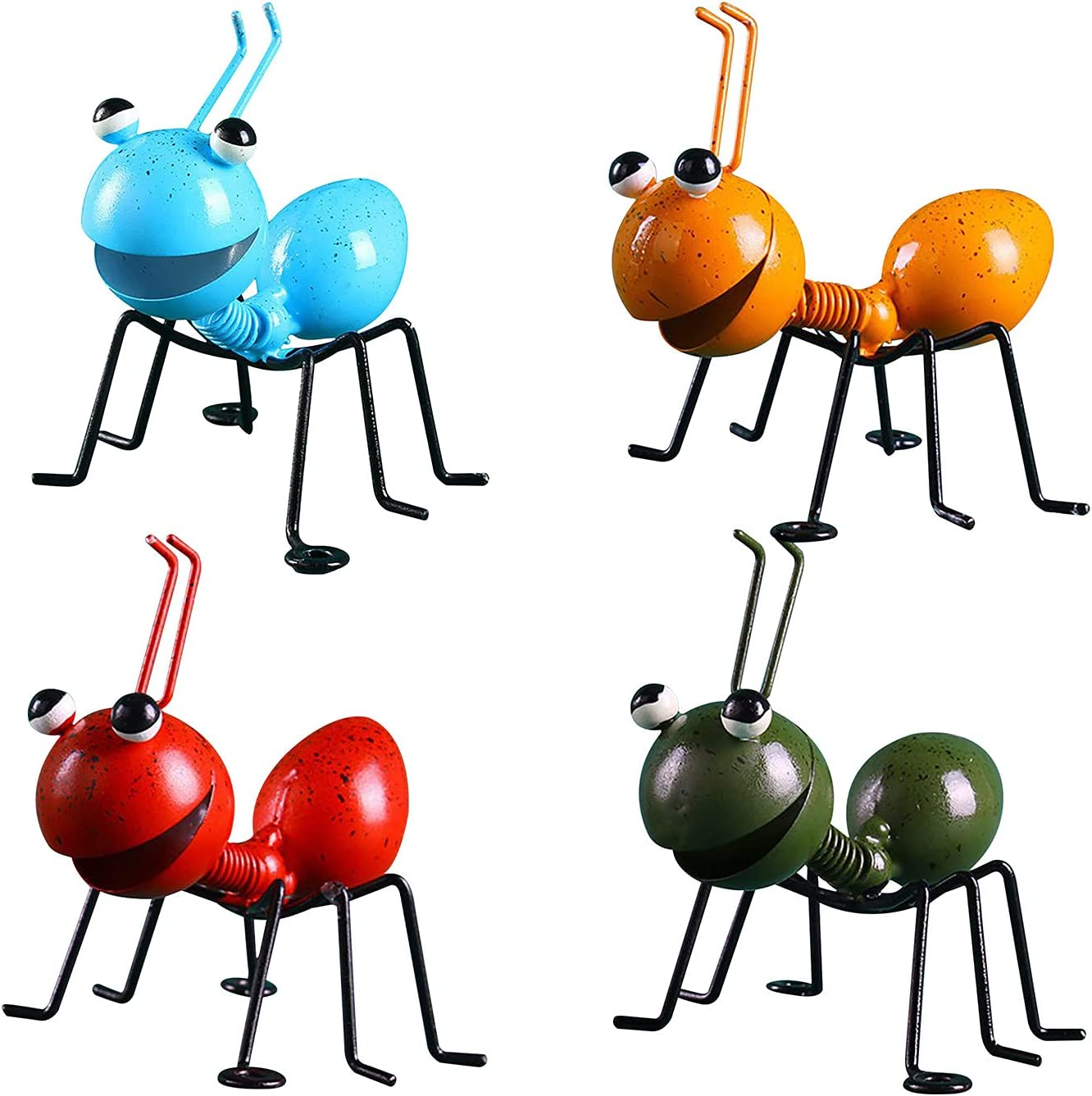 4PCS Ant Garden Decor Set Garden Metal Art Ant Ornament Hanging Wall Garden Lawn Decoration Indoor and Outdoor Home Decoration Sculpture Outdoor Garden Home Room Table Decor (Blue,Yellow,Red,Black)