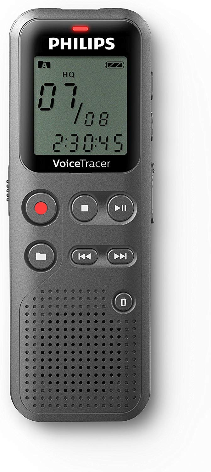 Philips DVT1110 Digital VoiceTracer Audio Recorder Digital Notes Recording 4 GB PC Connection Grey