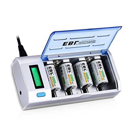 amazon com ebl 906 smart charger for aa aaa c d 9v rechargeableebl 906 smart charger for aa aaa c d 9v rechargeable batteries with 4 pieces 5000mah c