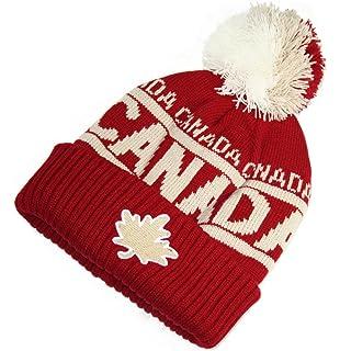 TRUE NORTH Adult Toque - Jacquard Leaf Canada Winter Hat With Pom ... bf1abca608f