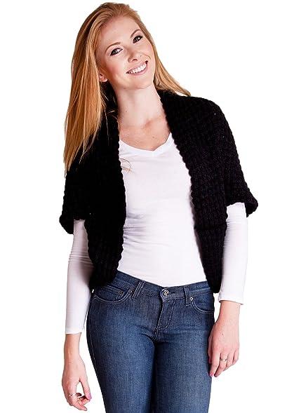 Black Ladies Short Sleeve Knit Shawl Cardigan: Amazon.co.uk: Clothing