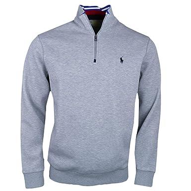 Ralph Lauren Pull col Montant zippé Gris en piqué pour Homme  Amazon.fr   Vêtements et accessoires 1026d7f3a38