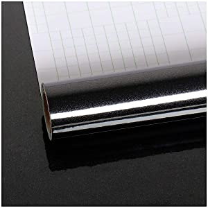VEELIKE Self Adhesive Wallpaper Peel and Stick 15.74 × 354.33inches Black Glossy Removable Wall Paper Decorative Contact Paper for Bedroom Bathroom Living Room Furniture