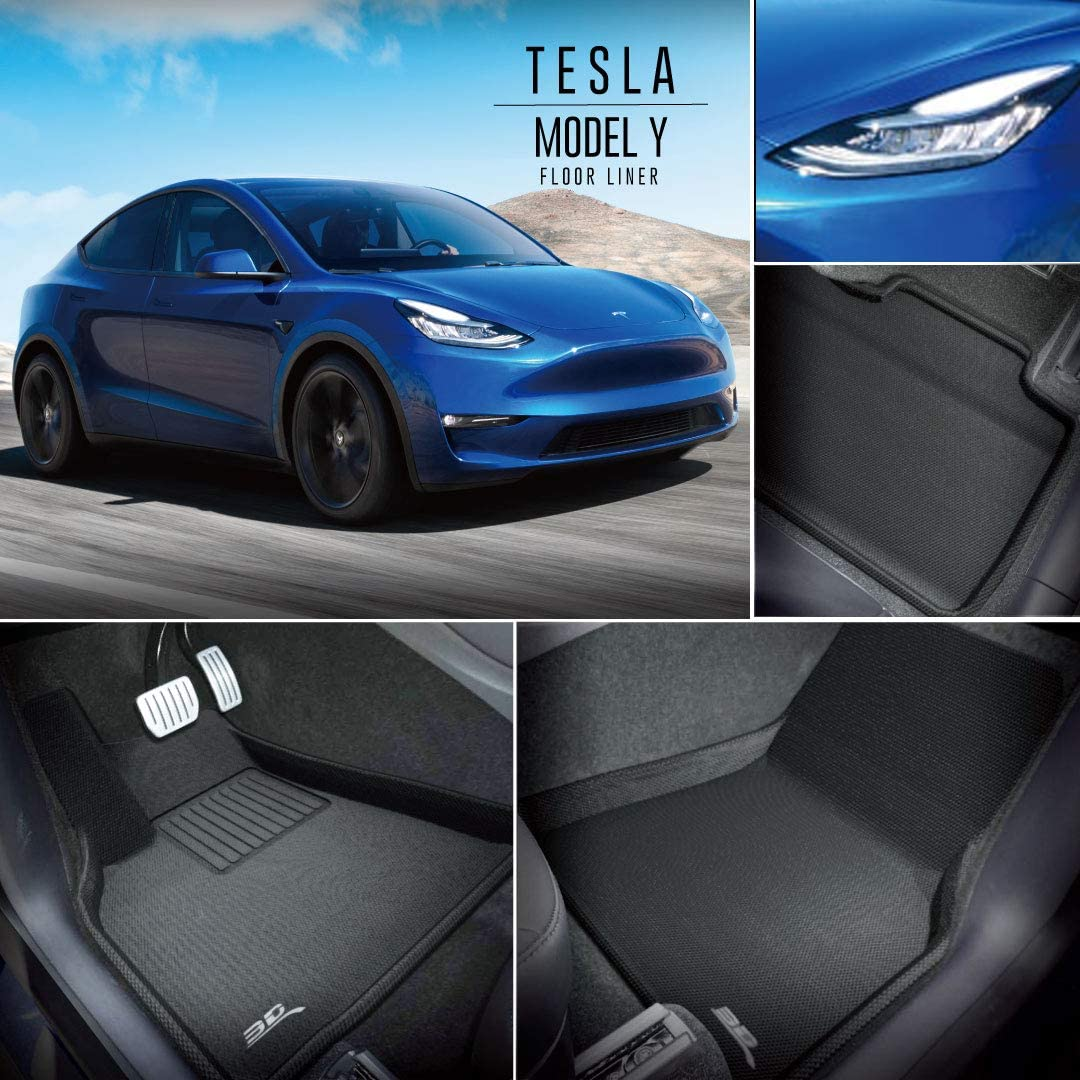 Kagu Series 1st /& 2nd Row, Black 3D MAXpider All-Weather Floor Mats for Tesla Model Y 2020 Custom Fit Car Floor Liners