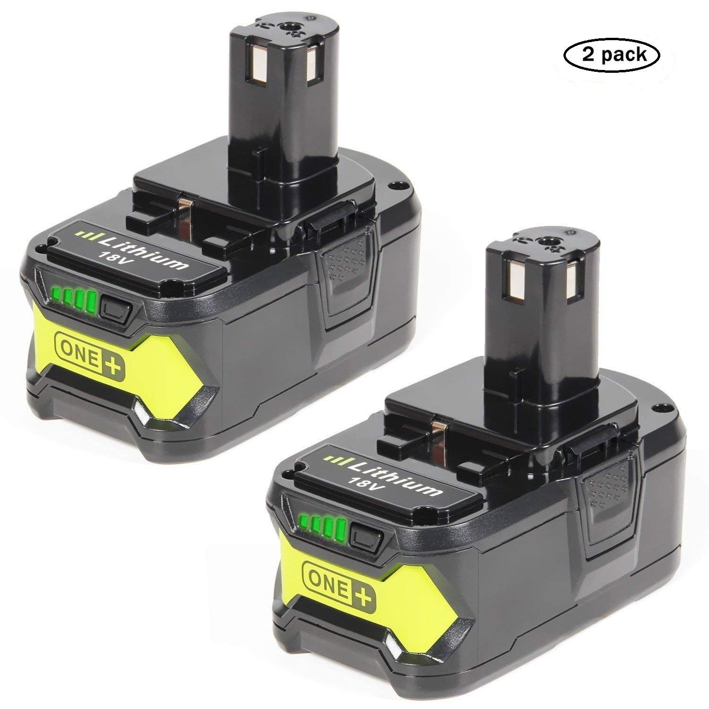 LENOGE 2-pack P108 RB18L50 batteria di ioni di litio di alta performance 18 V 5.0 Ah per Ryobi P100 P102 P103 P104 P105 P107 P108 BPL-1815 BPL-1820G BPL18151 BPL1820 Ryobi One più 18 V P200 P300 P400