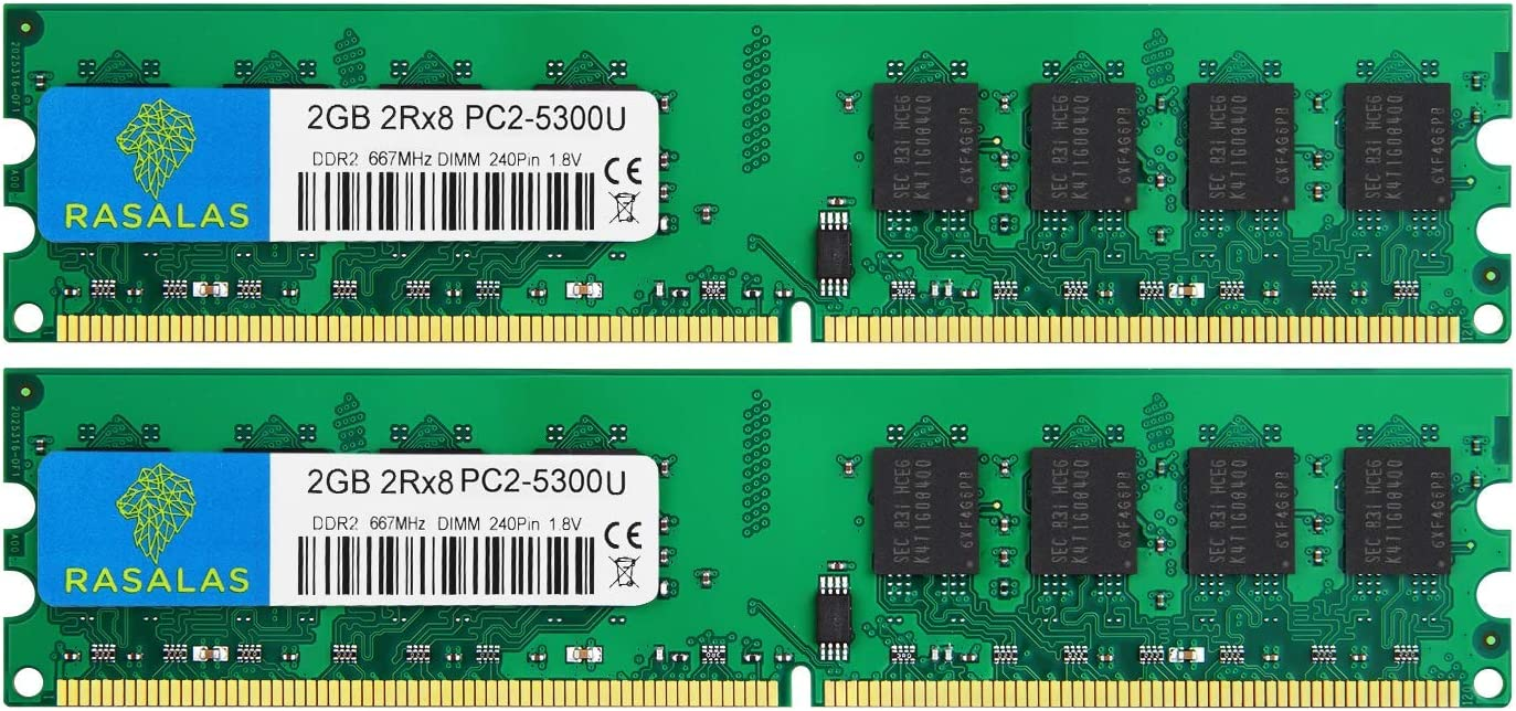 Rasalas DDR2 PC2-5300 DDR2 667 DDR2 4GB Kit (2x2GB) PC2-5300U DDR2-667 Udimm 2RX8 1.8V CL5 240-Pin Non-ECC Unbuffered Desktop Computer RAM Memory