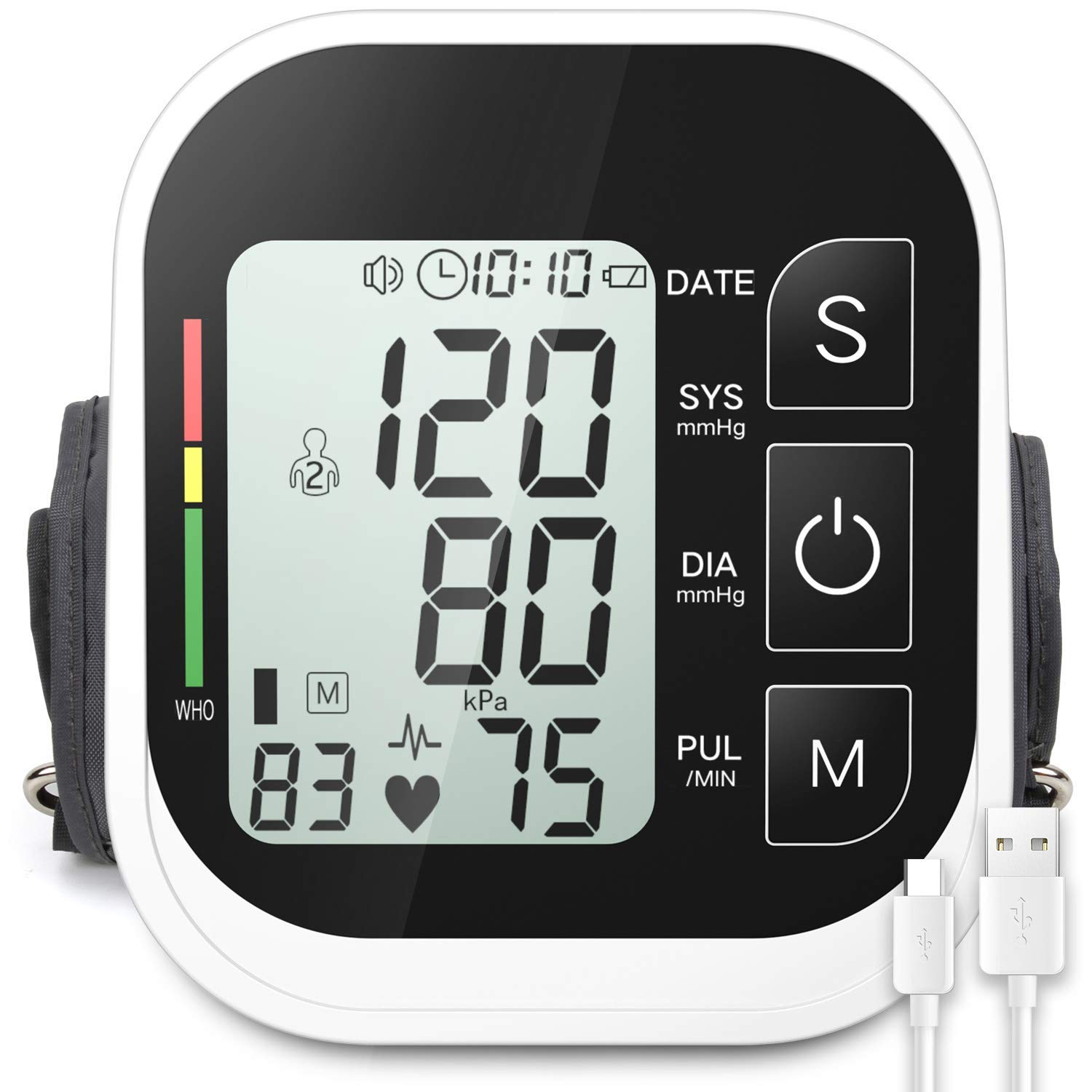 Blood Pressure Monitor Automatic Upper Arm Digital BP Cuff Machine with Large LCD Display 2x99 Memory Sets Smart Voice Broadcast Support Charging Supply (8.7-16.5inch)