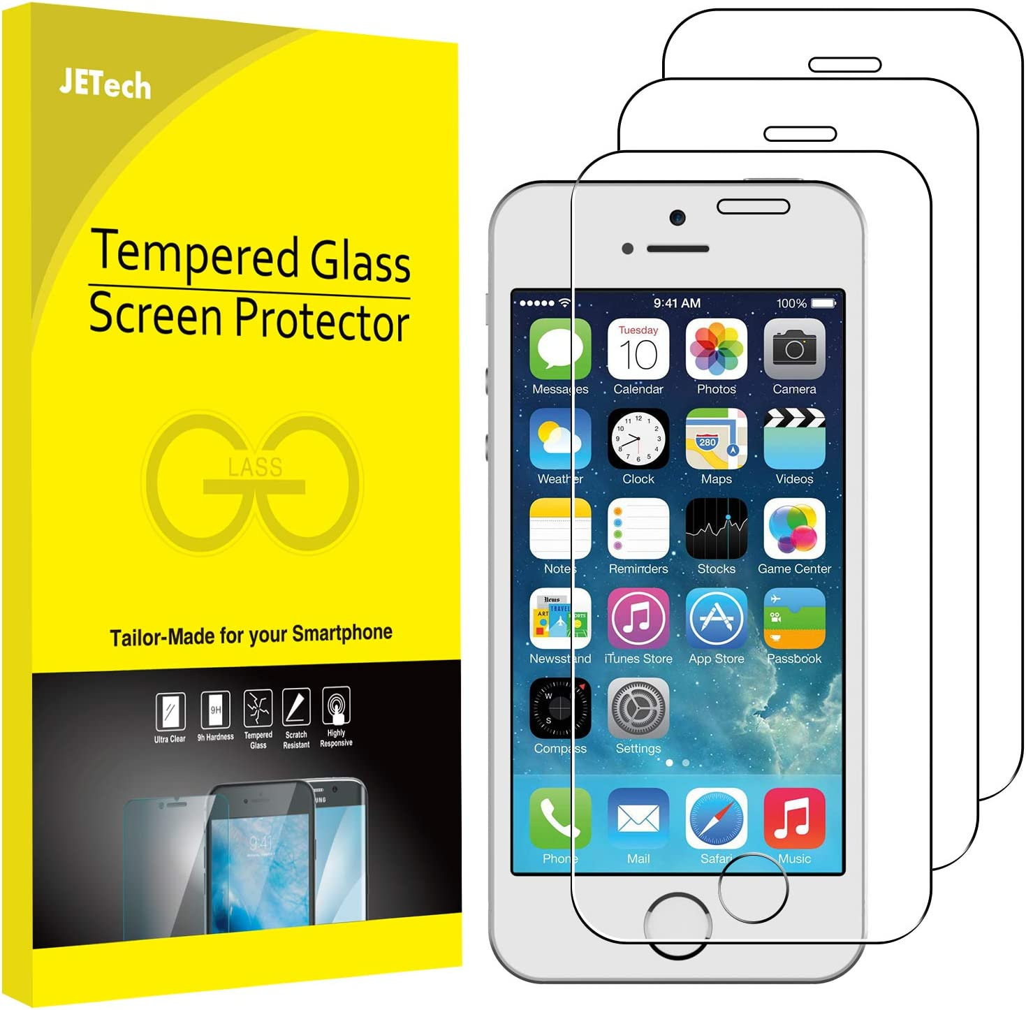 JETech Screen Protector for iPhone SE (2016 Edition), iPhone 5s, iPhone 5c and iPhone 5, Tempered Glass Film, 3-Pack